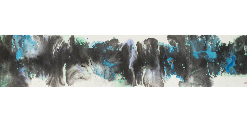Universal Energy <br/> Chinese ink & acrylic on rice paper <br/> 66 cm x 248 cm<br/> ©Chloe Ho 2020